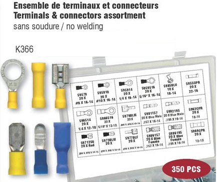 Electrical Terminal & Connectors Assortment (350 pcs)