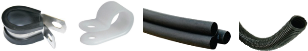 wire cable clampsand shrink tubes