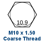 M10 Grade 10.9 Coarse Thread