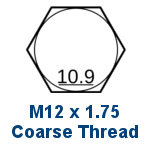 M12 Grade 10.9 Coarse Thread