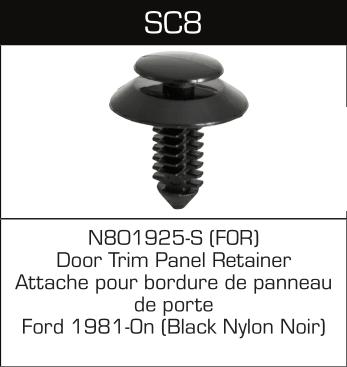 SC08 FORD N801925-S, 12565 Door Trim Panel Retainer (10pcs)